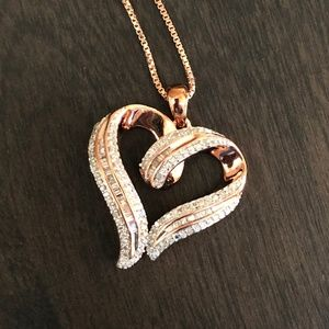 Rose Gold over Silver 1/2 Carat TW Heart Pendant